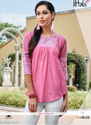 Designer Special Baby Pink Rayon Embroidered T Shirt For Girl