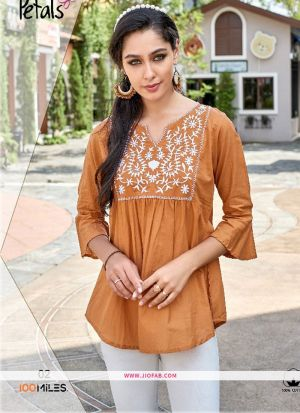 Designer Special Light Brown Rayon Embroidered Top For Girl