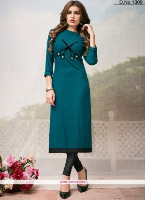 Designer Teal Blue Rayon Plain Long Kurti
