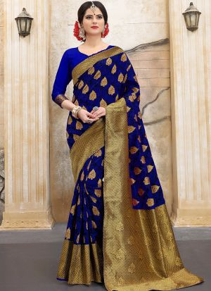 Designer Wedding Blue Banarasi Silk Saree