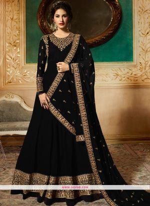 Designer Wedding Embroidered Black Color Foux Georgette Anarkali Suit