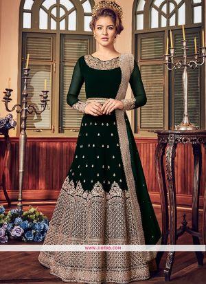 Designer Wedding Embroidered Dark Green Georgette Anarkali Suit