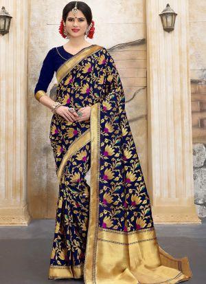 Designer Wedding Navy Banarasi Silk Saree