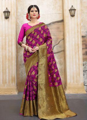 Designer Wedding Pink Banarasi Silk Saree