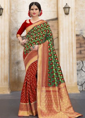 Designer Wedding Red And Mahndi Banarasi Silk Saree