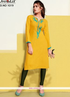 Designer Yellow Rayon Embroidered Long Kurti