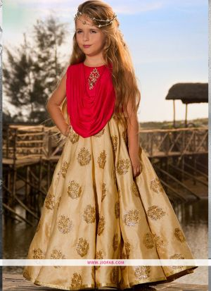 Diwali Collections Of Modern Western Dresses For Girl Kids In Cream Color