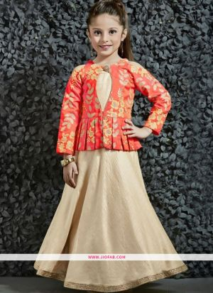 Diwali Collections Of Modern Western Dresses For Girl Kids In Orange And Cream
