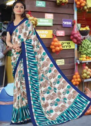 Diwali New Collections Multi Color Crepe Saree