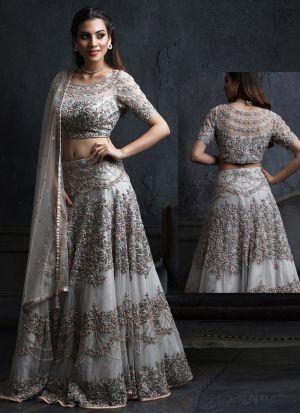 Dusty Grey Mono Net Fancy Thread Work Lehenga Choli With Mono Net Dupatta