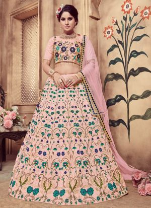 Dusty Pink Color Multi Rubber Foil Work Silk Designer Lehenga Choli
