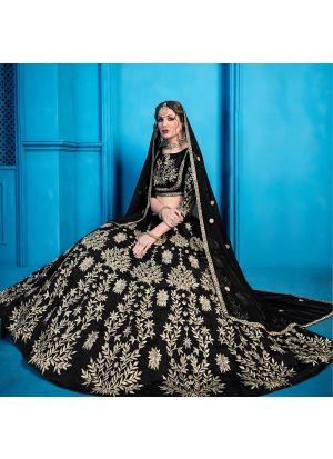 Elegant Collection Art Silk Black Designer Lehenga Choli