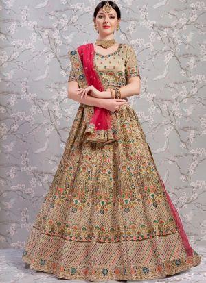 Elegant Collection Gota Silk Silky Tan Beige Designer Lehenga Choli