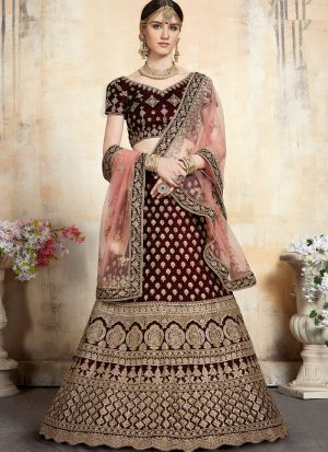 Elegant Collection Pure Velvet Maroon Designer Bridal Lehenga Choli