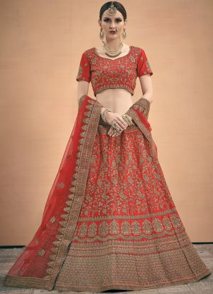 Elegant Collection Satin Coral Red Designer Bridal Lehenga Choli