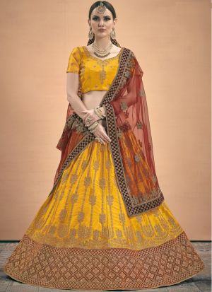 Elegant Collection Satin Mustard Designer Lehenga Choli
