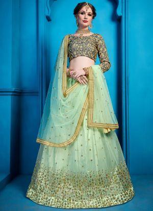 Elegant Collection Soft Net Sea Green Designer Lehenga Choli