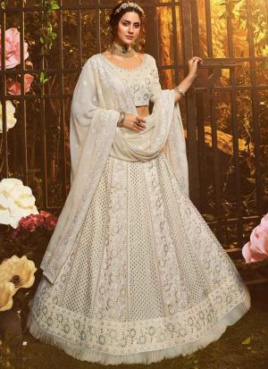 Elegant Collection White Designer Thread Work Lehenga Choli