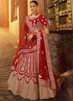 Elegant Collection Zarkan Work Red Wedding Lehenga Choli