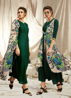 Elegant Look Rayon Green Kurti With Printed Jacket