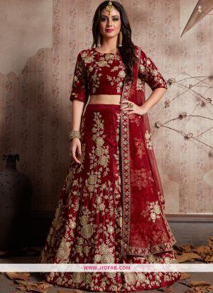 Elegant Maroon Embroidered Velvet Silk Wedding Anarkali Lehenga