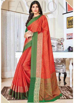 Elegant Orange Wedding Wear Handloom Silk Saree