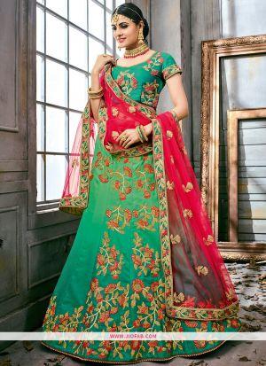 Embroidered Green Color Bridal Anarkali Style Lehenga