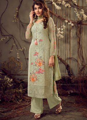 Embroidered Green Palazzo Suits For Wedding Functions