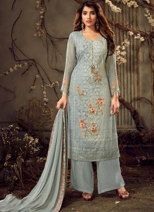 Embroidered Grey Palazzo Suits For Wedding Functions