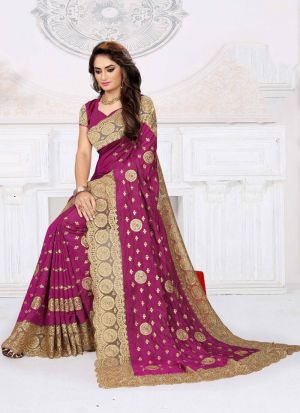 Embroidered Magenta Sana Silk Designer Saree