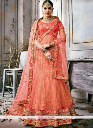 Embroidered Peach Color Bridal Anarkali Style Lehenga