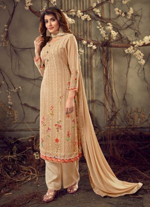 Embroidered Peach Palazzo Suits For Wedding Functions
