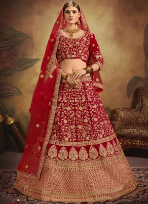 Embroidered Work On Red Designer Bridal Lehenga Choli In Pure Velvet Fabric