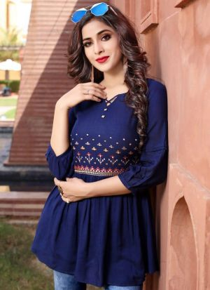 Empire Style Navy Rayon Cotton Embroidered Top