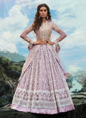 Excellent Soft Net Lilac Party Wear Zari Work Lehenga Choli
