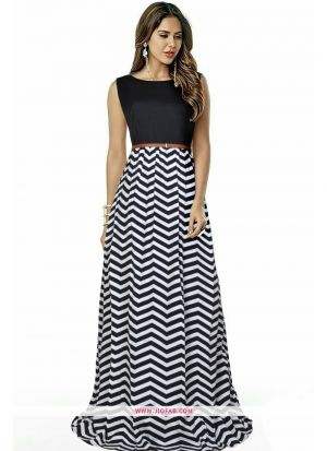 Exclusive Designer G 65 Zigzag Black Long Gown