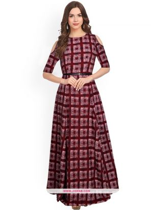 Exclusive Designer G 75 Zorba Maroon Long Gown