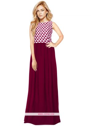 Exclusive Designer G 85 Barby Maroon Long Gown