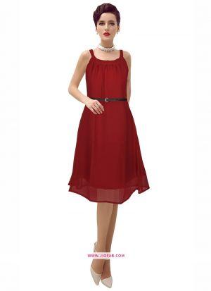 Exclusive Designer Georgette Maroon Short Dress