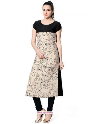 Exclusive Designer Heavy Cream Crepe Digital Printed Long Kurti