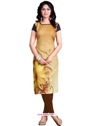 Exclusive Designer Heavy Golden Crepe Digital Printed Kurti