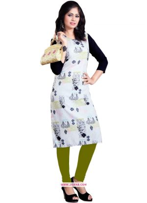 Exclusive Designer Heavy White Crepe Digital Printed Kurti