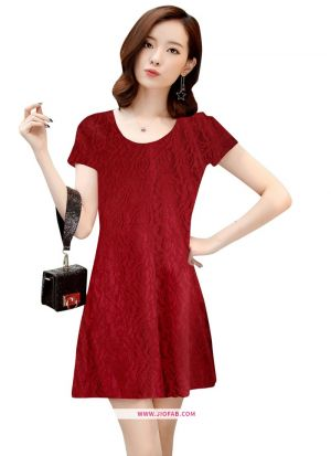 Exclusive Designer Maroon Colour Short Dress
