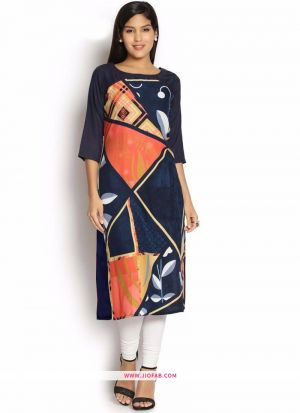 Exclusive Designer Premium Quality Navy Crepe Digital Printed Kurti