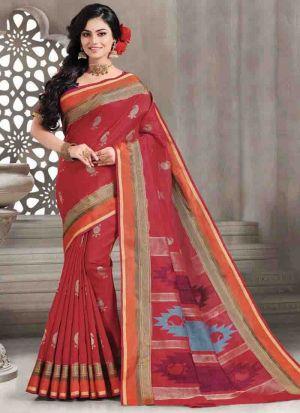 Exclusive Maroon Wedding Wear Handloom Silk Saree With Blouse