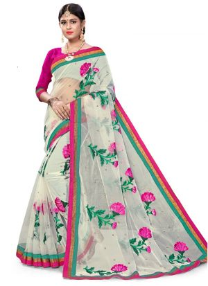 Exclusive Off White Wedding Wear Bemberg Saree With Blouse