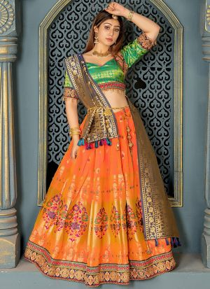 Exclusive Peach Jacquard Lehenga Choli
