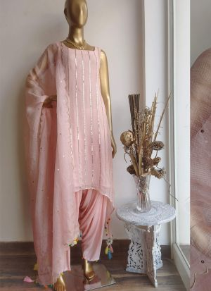 Exquisite Peach Thread Work Party Wear Salwar Suit