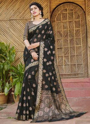 Fanciful Black Handloom Silk Saree With Blouse