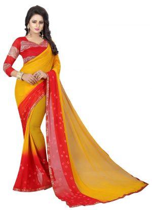 Fancy Chiffon Red And Yellow Saree